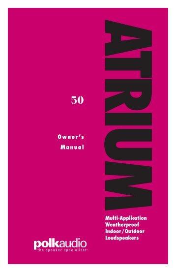 Atrium50 Owneru0027s Manual   Polk Audio