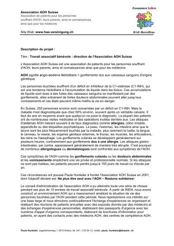 CV et projet de Paula Hunkeler - Aha