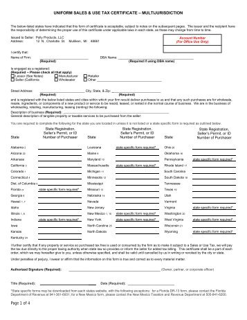 State Sales Tax: Multi State Sales Tax Exemption Form