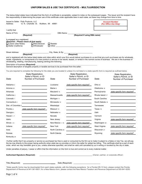 Uniform Sales Use Tax Form - Polly Products