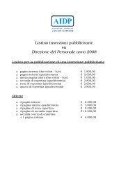 Listino inserzioni pubblicitarie su DDP 2008 - Aidp
