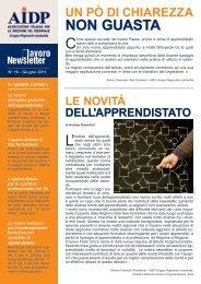 nr. 16 giugno 2011 - LE NOVITA' DELL'APPRENDISTATO - Aidp