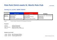 Teaumaufstellung und Programm St. Moritz - Polo Park Zürich AG