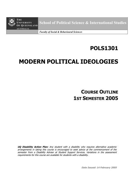 modern political ideologies - School of Political Science