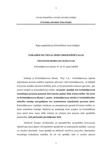 Zvērināta advokāte Irina Kauke Rīgas apgabaltiesas Krimināllietu ...