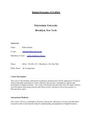 Digital Forensics (CS 6963) Polytechnic University Brooklyn, New York