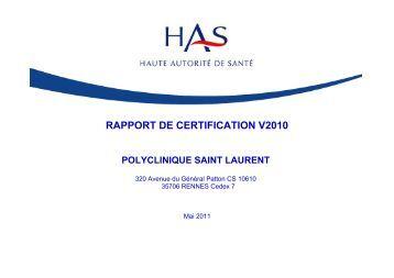 RAPPORT DE CERTIFICATION V2010 - Polyclinique Saint-Laurent