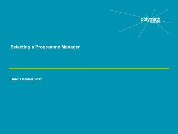Selecting a Programme Manager - Polymath Consultancy