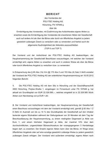 Bericht des Vorstandes - polytec