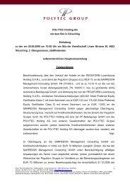 POLYTEC Holding AG mit dem Sitz in Hörsching Einladung zu der ...