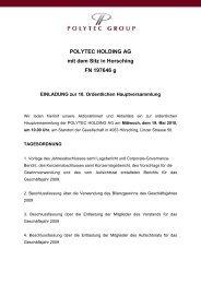 POLYTEC HOLDING AG mit dem Sitz in Horsching FN 197646 g