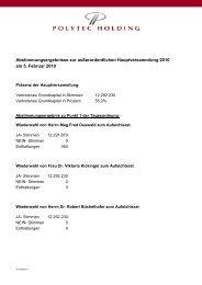 Abstimmungsergebnisse zur außerordentlichen ... - polytec