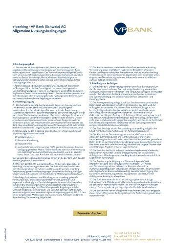 e-banking - VP Bank (Schweiz) AG Allgemeine Nutzungsbedingungen