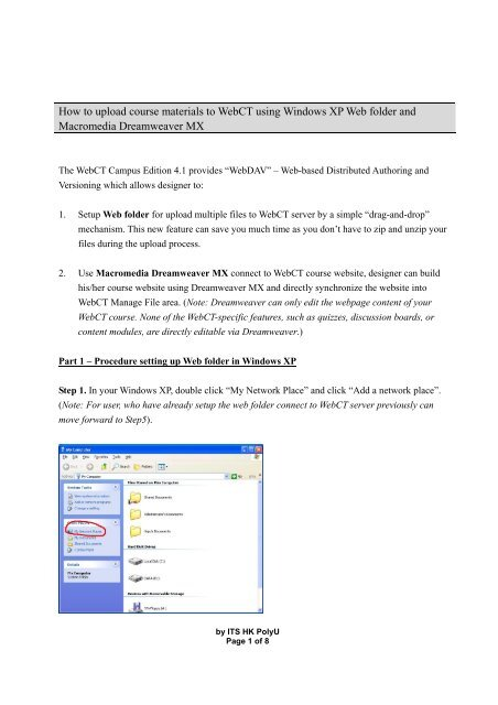 How to upload course materials to WebCT using Windows XP Web ...