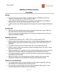 BC Midwifery Fact Sheet - Pomegranate Community Midwives