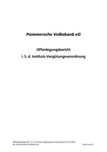 Offenlegungsbericht (i. S. d. Instituts-Vergütungsverordung)