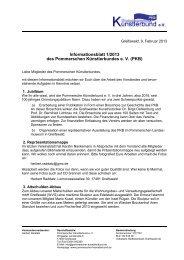 Informationsblatt 1/2013 des PKB e. V. - Pommerscher Künstlerbund