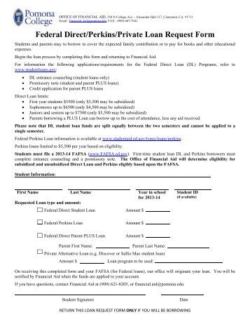 Federal Direct Stafford Loan Request Form - Claremont Mckenna College