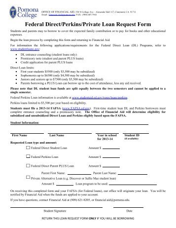 Summer Federal Direct Graduate Plus Loan Request Form