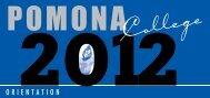 Student Orientation Schedule [pdf] - Pomona College