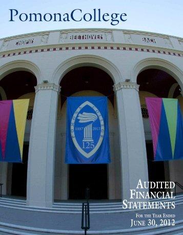 College Financial Statements - 2012 [pdf] - Pomona College