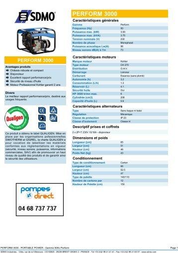caractéristiques générales - Pompes Direct
