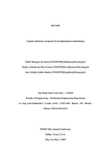 007-0185 Logistic platforms: proposal of an implantation ... - POMS