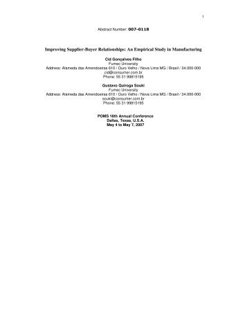 Improving Supplier-Buyer Relationships: An Empirical Study ... - POMS
