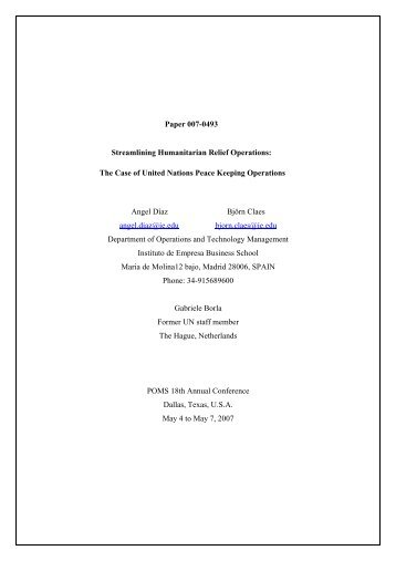 Paper 007-0493 Streamlining Humanitarian Relief Operations - POMS