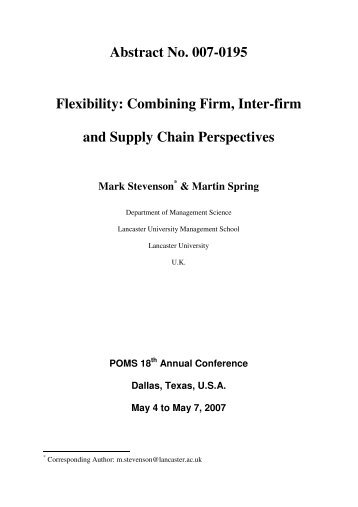 Abstract No. 007-0195 Flexibility: Combining Firm, Inter-firm ... - POMS