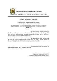 Edital de Ensalamento - Prefeitura Municipal de Ponta Grossa