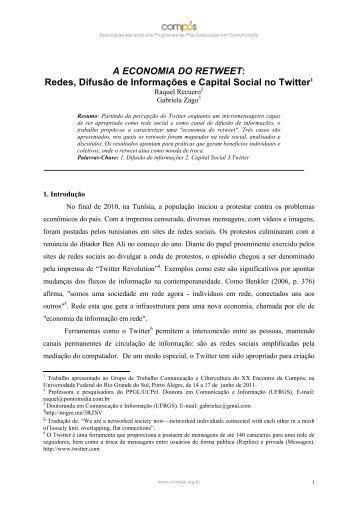 A ECONOMIA DO RETWEET: Redes, Difusão de ... - Raquel Recuero