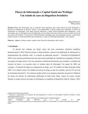 Fluxos de Informação e Capital Social nos Weblogs - Raquel Recuero