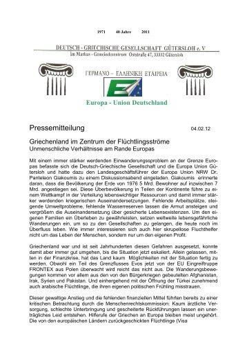 Pressemitteilung - POP Initiativgruppe Griechische Kultur