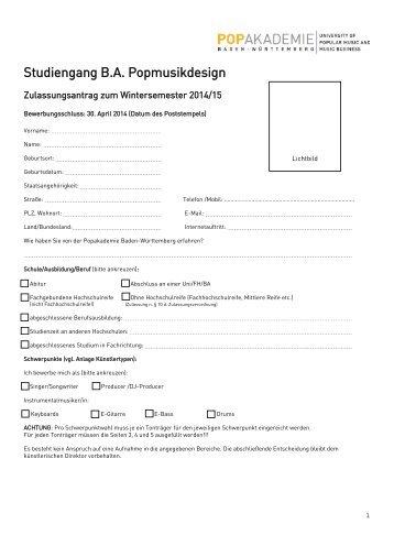 Zulassungsantrag - Popakademie Baden-Württemberg