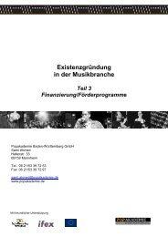 Die Finanzierung - Popakademie Baden-Württemberg