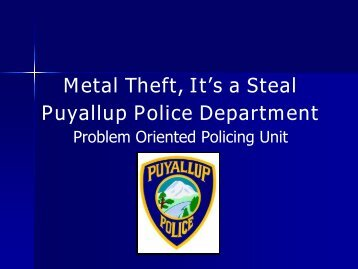 Metal Theft: It's a Steal - Center for Problem-Oriented Policing