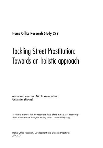 Tackling Street Prostitution: Towards an holistic approach