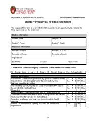 student evaluation of field experience - Department of Population ...