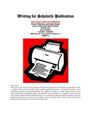 Writing for Scholarly Publication in the Health Sciences