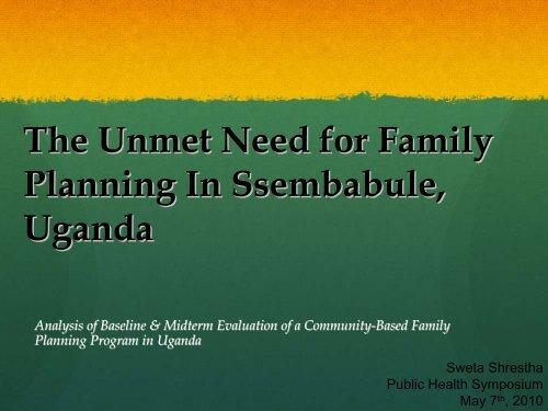 The Unmet Need for Family Planning In Rural Uganda