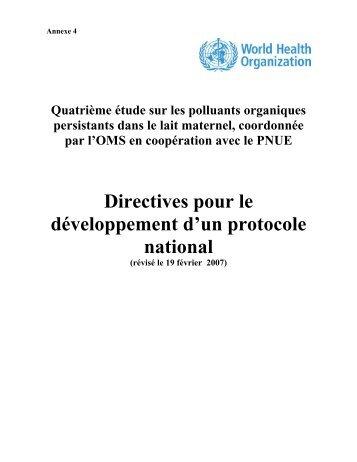 Directives pour le développement d'un protocole national