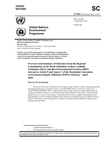United Nations Environment Programme - Stockholm Convention on ...