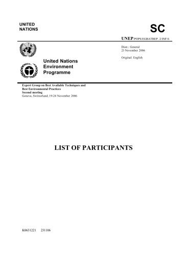 List of Participants - Stockholm Convention on Persistent Organic ...