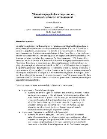 Micro-démographie des ménages ruraux, moyens d'existence et ...