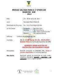 provas válidas para a 1ª etapa do ranking shb 2011 - Por Fora das ...