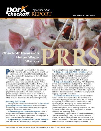 Pork Checkoff Report Special Edition - February 2012