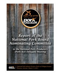 Report of the National Pork Board Nominating Committee