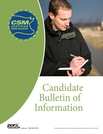 to download the candidate bulletin - National Pork Board