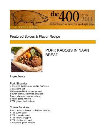 Pork Kabobs in Naan Bread - PorkFoodService.Com